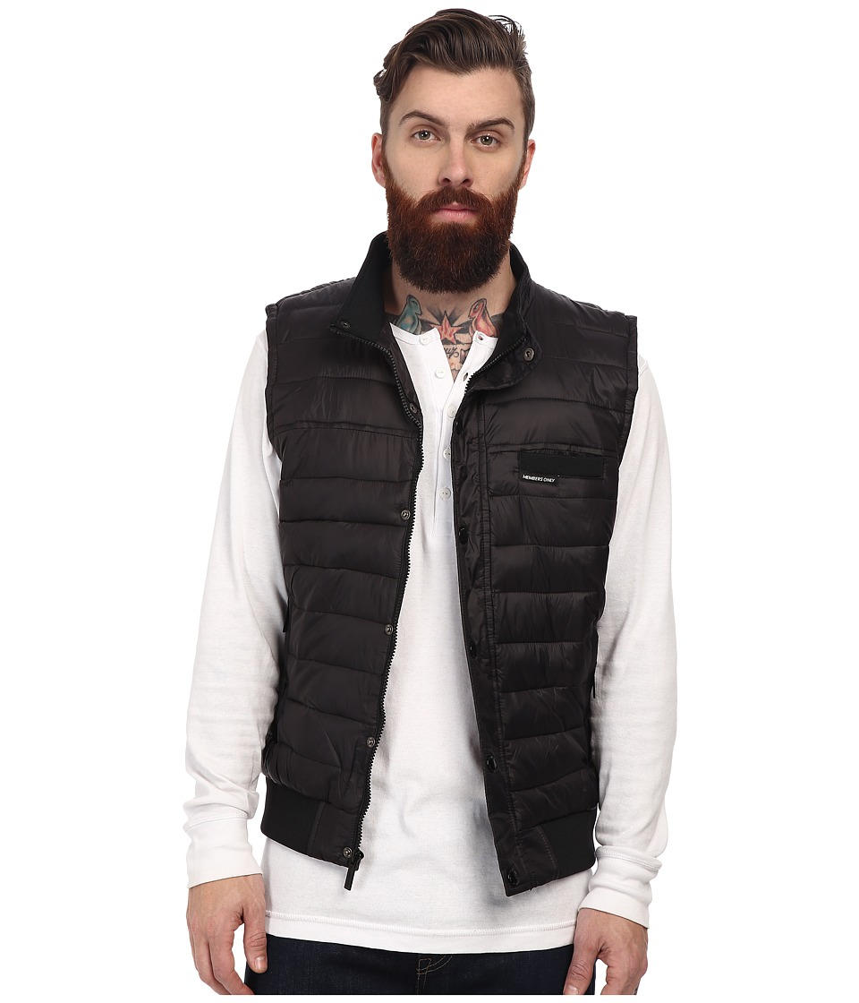 Members Only - Down Vest w/ Contrast Rib (Black) Men's Vest