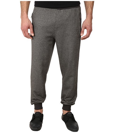 Members Only - Marled French Terry Jogger Pant w/ Vegan Leather Side Pocket (Grey) Men's Casual Pants