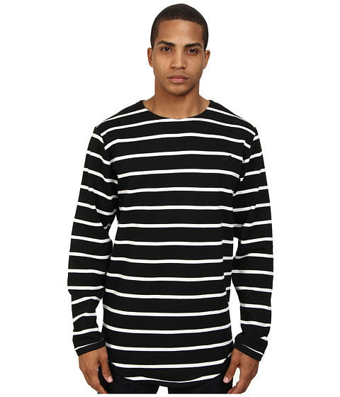 Publish - Dover Premium Stripe Knit L/S Crew Neck Tee (Black) Men