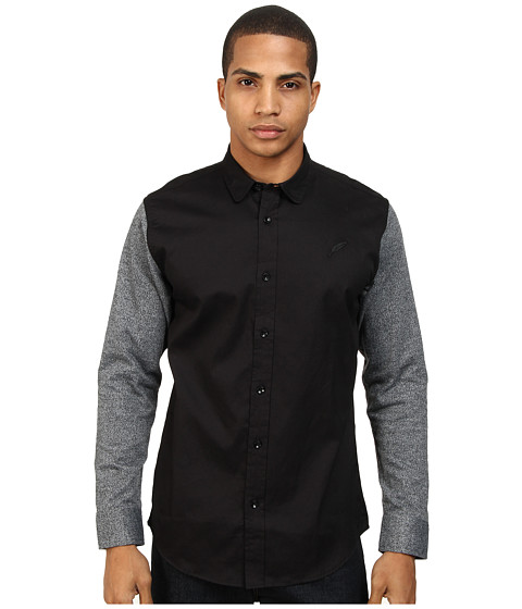 Publish - Barcena Oxford Woven with Contrast Knit Sleeves (Black) Men's Long Sleeve Button Up