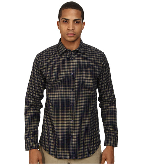 Publish - Albane Small Check Plaid Flannel L/S Button Up (Navy) Men