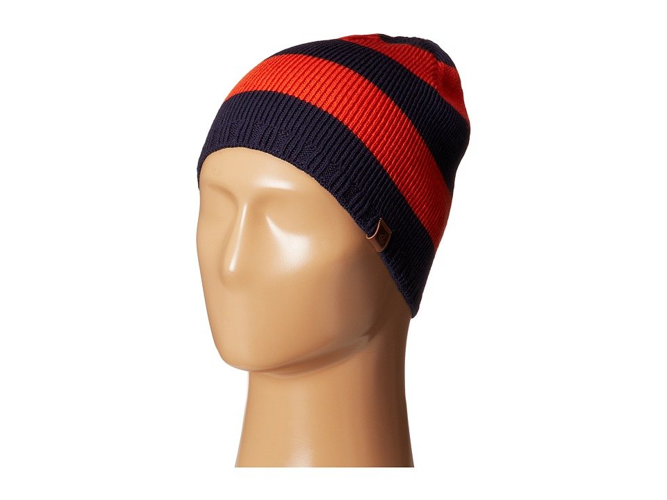 Sperry - Marled Stripe Beanie w/ Leather Tab (Spicy Orange) Beanies