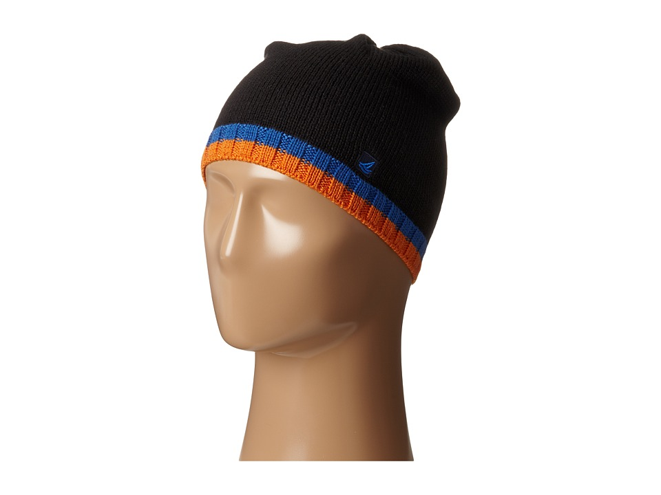 Sperry - Pop Stripe Beanie (Black/Strong Blue) Beanies