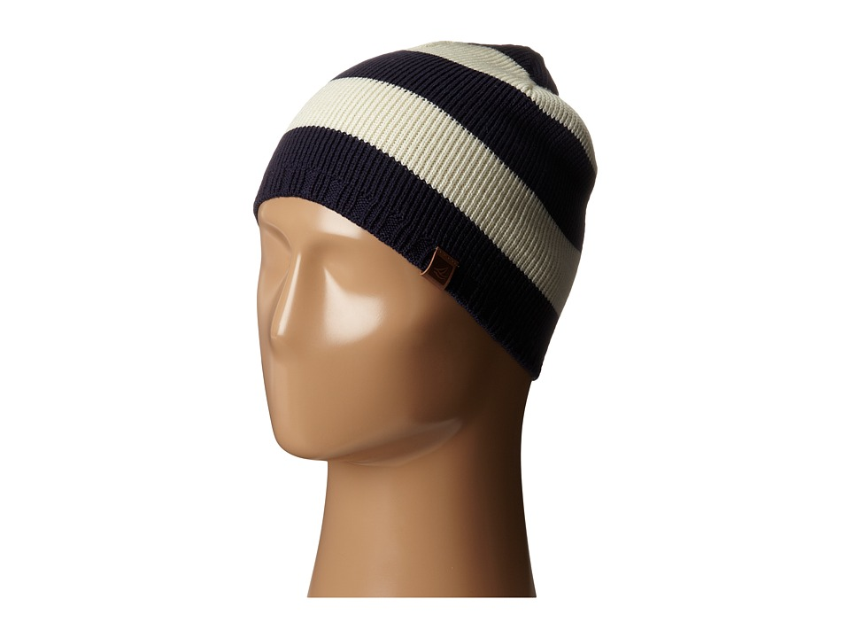 Sperry - Marled Stripe Beanie w/ Leather Tab (Vanilla Ice) Beanies
