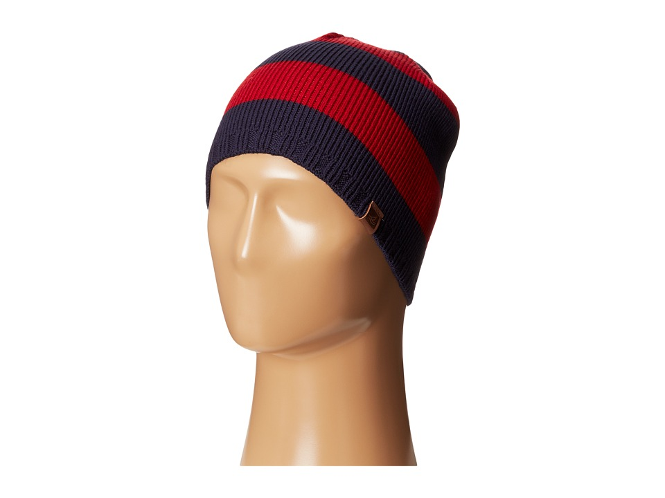 Sperry Top-Sider - Marled Stripe Beanie w/ Leather Tab (Tango Red) Beanies