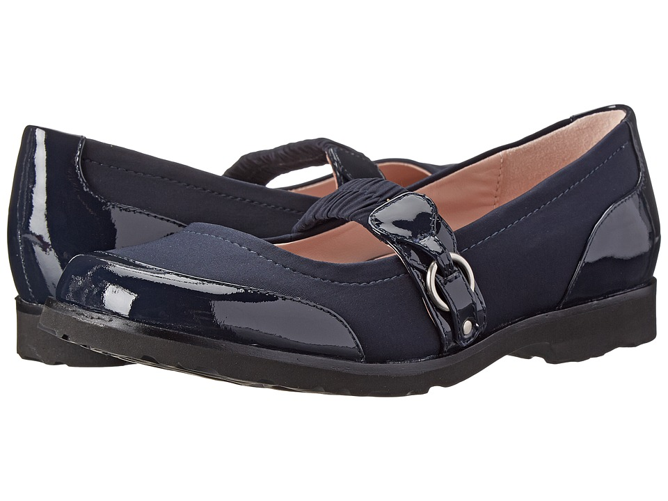Taryn Rose Jannye (Navy Soft Patent/Stretch) Women