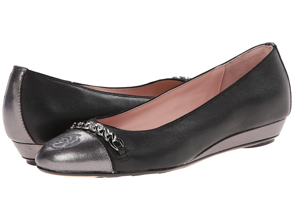 Taryn Rose - Paola (Black/Pewter Soft Nappa/Crack Print Metallic Leather) Women's Shoes