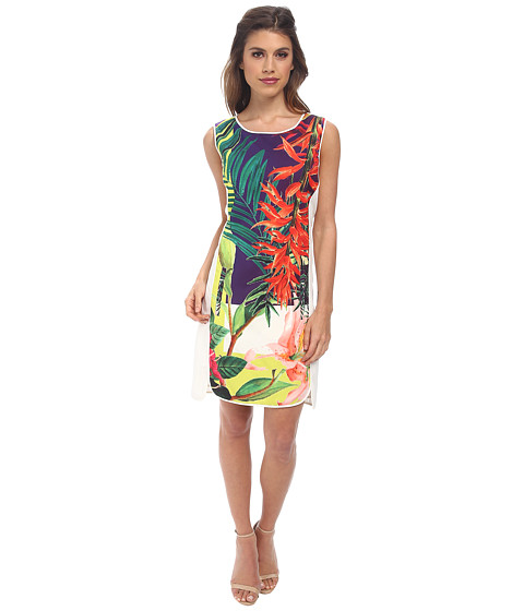 Hale Bob - Cosmopolitan Jungle Shift Dress w/ Zipper Detail (Coral) Women's Dress