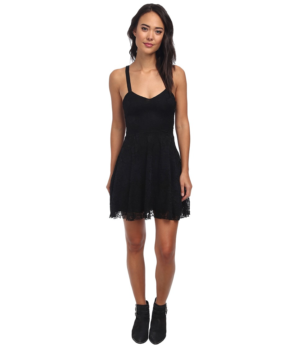 Free People - Flocked Velvet Lace Fit And Flare Dress (Black Combo) Women