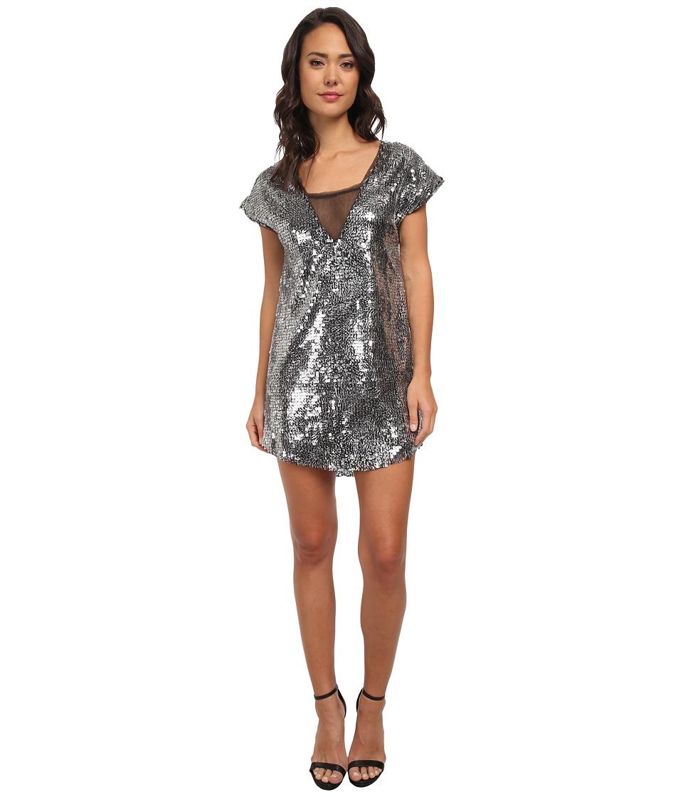 Free People - Shattered Glass Sequin Midnight Dreamer Dress (Black Combo) Women's Dress