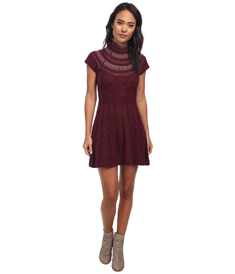 Free People - Nordic Nights Sweater Dress (Wine Heather) Women's Dress