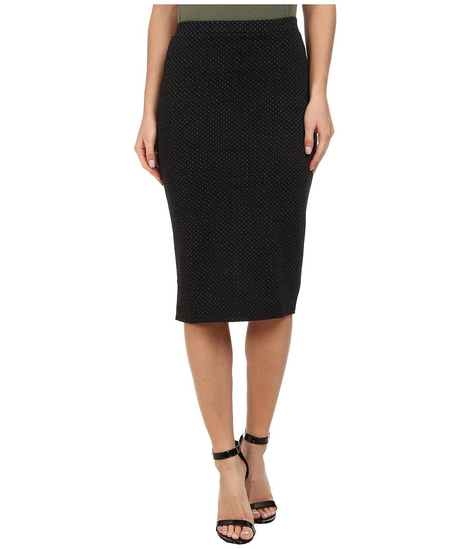 Free People - Polka Dot Double Cloth Knit Ludlow Pencil Skirt (Black) Women's Skirt plus size,  plus size fashion plus size appare