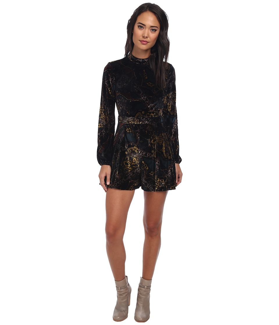 Free People - Velvet Printed Long Sleeved Romper (Emerald Combo) Women