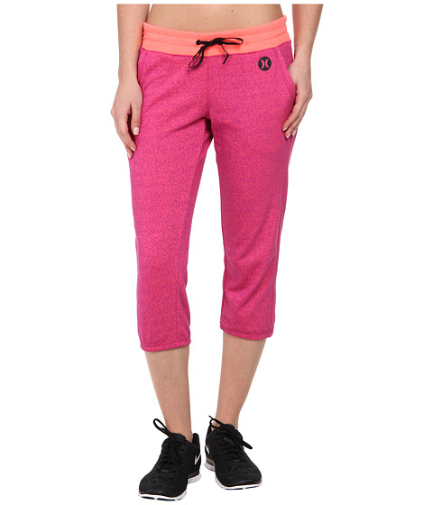 Hurley - Dri-Fit Fleece Crop Pant w/ Drawcord (Heather Fuchsia) Women