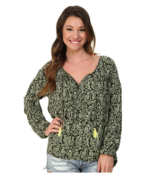 Roxy - World Traveler Peasant Top (Deep Forest Print) Women's Long Sleeve Pullover