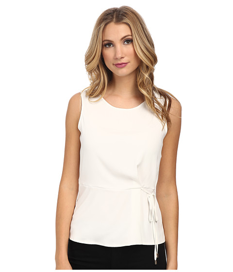 Calvin Klein - Sleeveless Blouse w/ Bow Detail at Waist (Cream) Women