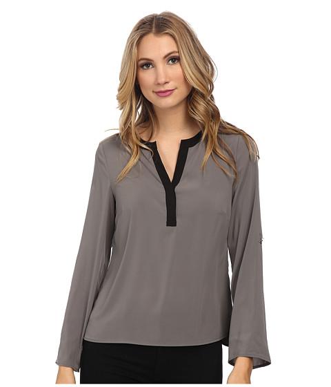 Calvin Klein - Roll Sleeve Blouse (Tin) Women