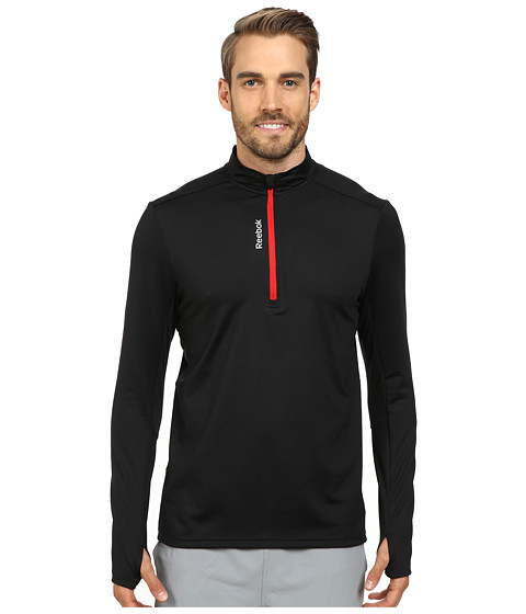 Reebok - Running Essentials M 1/4 Zip (Black/Red Rush) Men