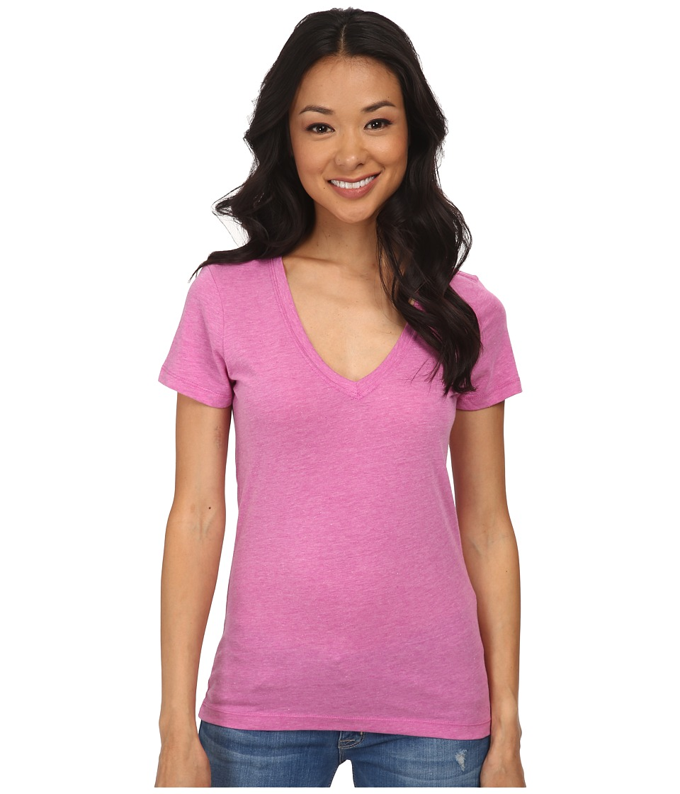 Hurley - Solid Perfect V Neck Tee (Heather Fuchsia Flash) Women's T Shirt
