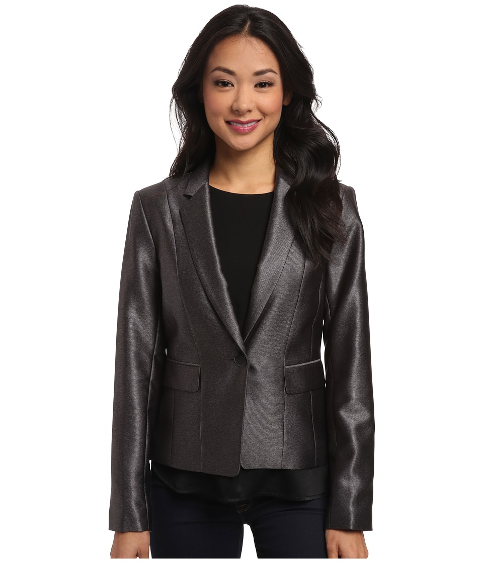 Calvin Klein - One-Button Shiny Jacket (Charcoal) Women's Coat