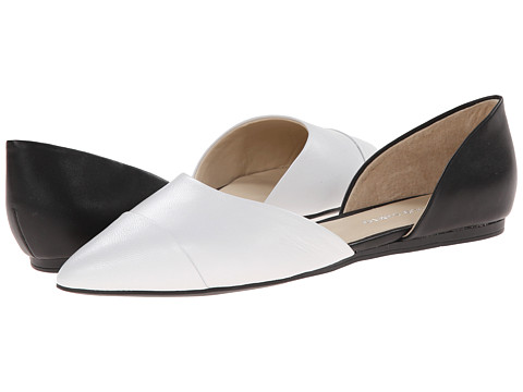 Franco Sarto - Hawk (White/Black Leather) Women's Flat Shoes