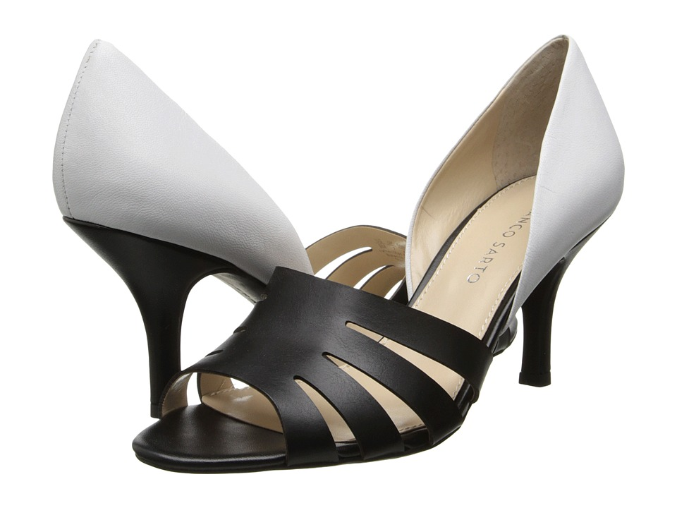 Franco Sarto - Isadora (Black Synthetic/White Nappa Leather) Women's 1-2 inch heel Shoes
