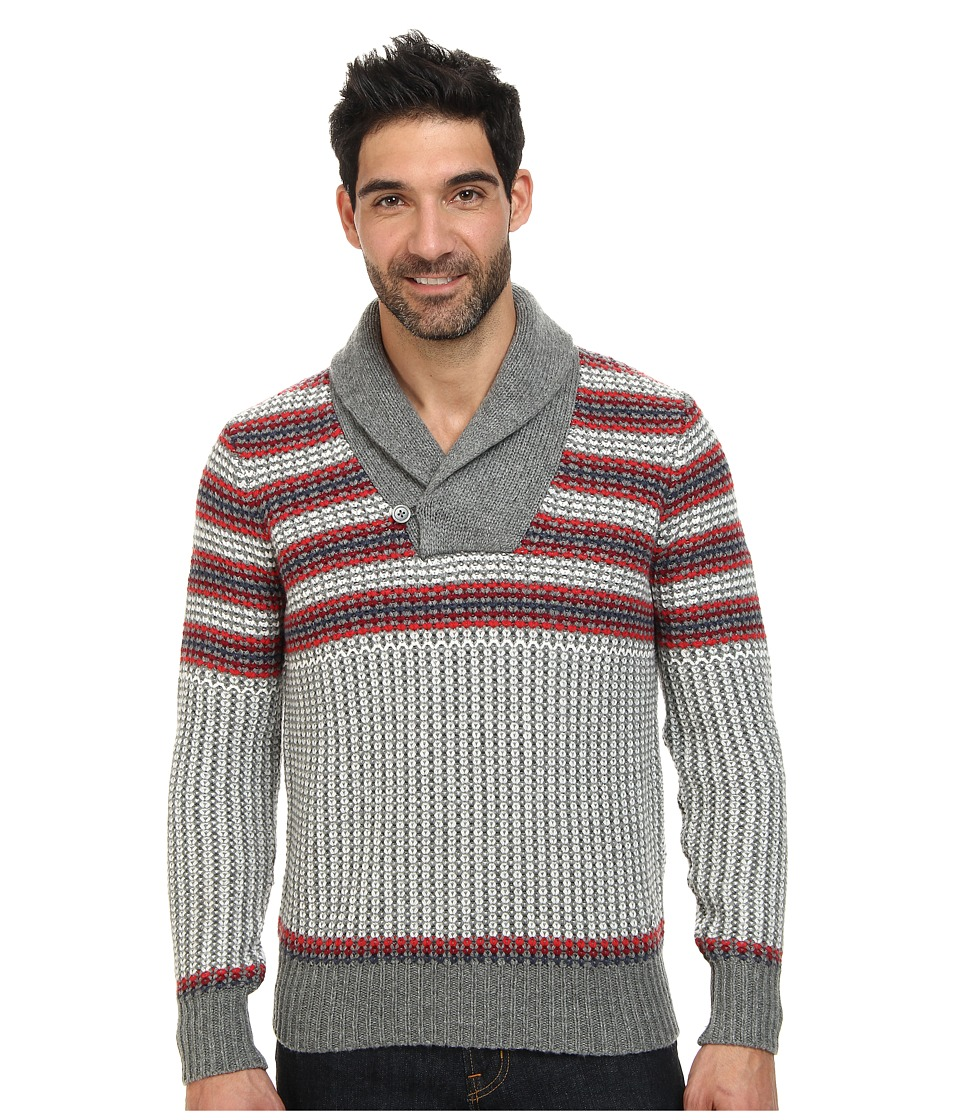 Nautica - 3 Gauge Knit Shawl Pullover Sweater (Morgans Grey Heather) Men