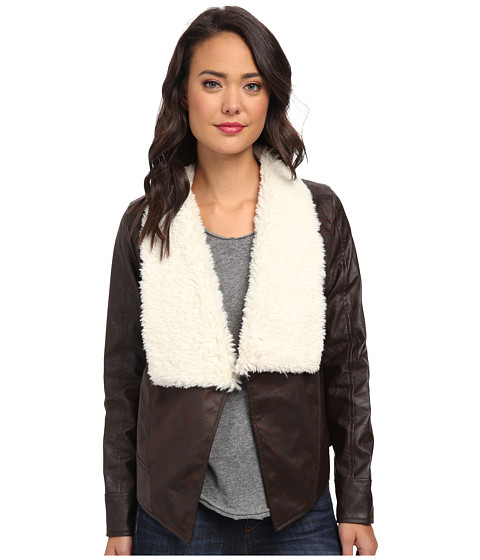 Jack by BB Dakota - Riggs Faux Suede and PU Jacket (Dark Brown 1) Women