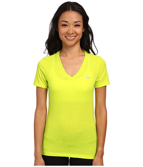 adidas - Ultimate Short Sleeve V-Neck Tee (Semi Solar Yellow/Matte Silver) Women's Workout