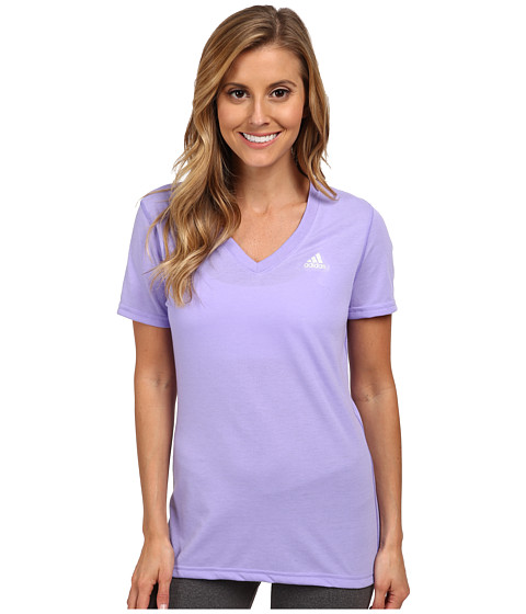 adidas - Ultimate Short Sleeve V-Neck Tee (Light Flash Purple/Matte Silver) Women