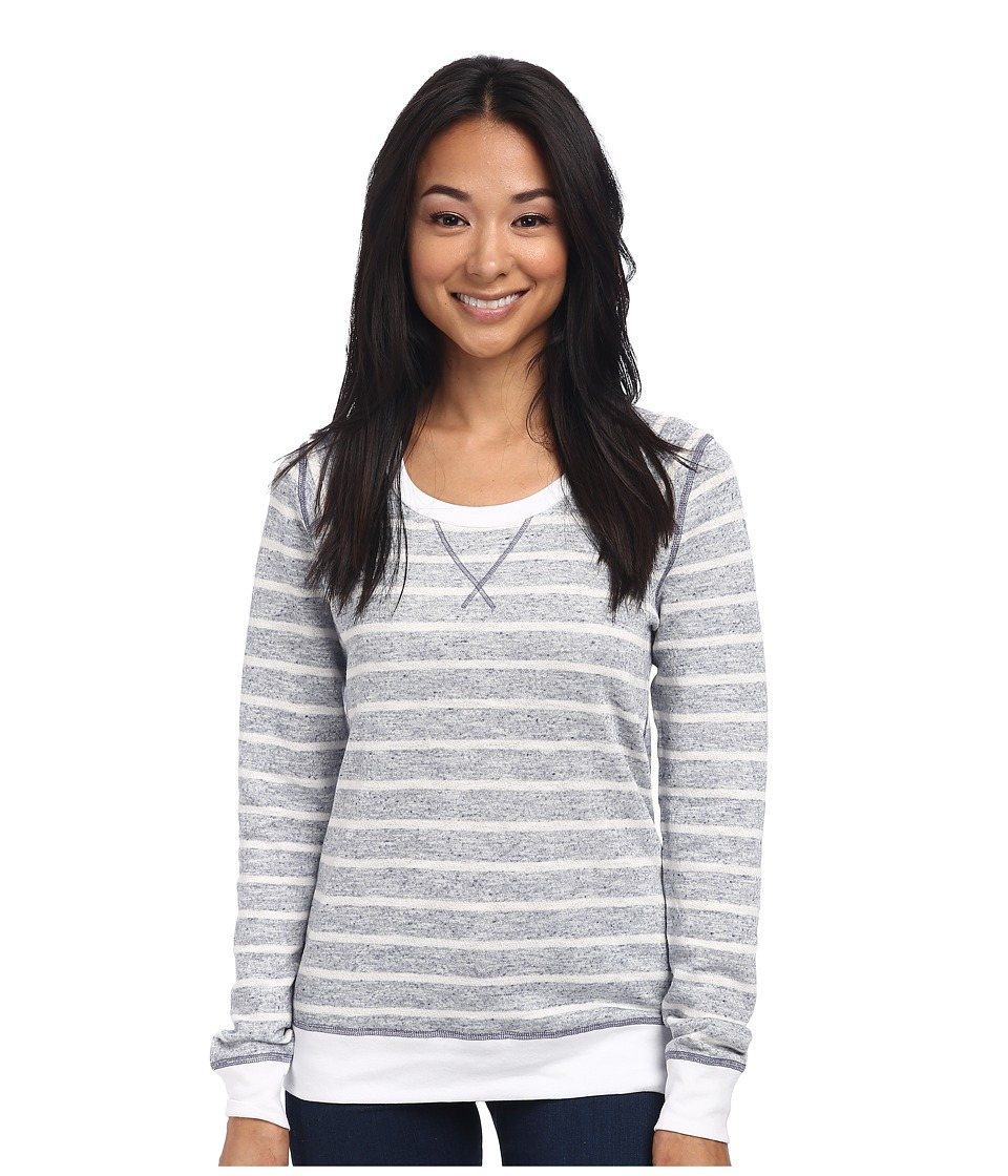 Three Dots - L/S Stripe Sweatshirt (Navy/Ivory) Women's Sweatshirt