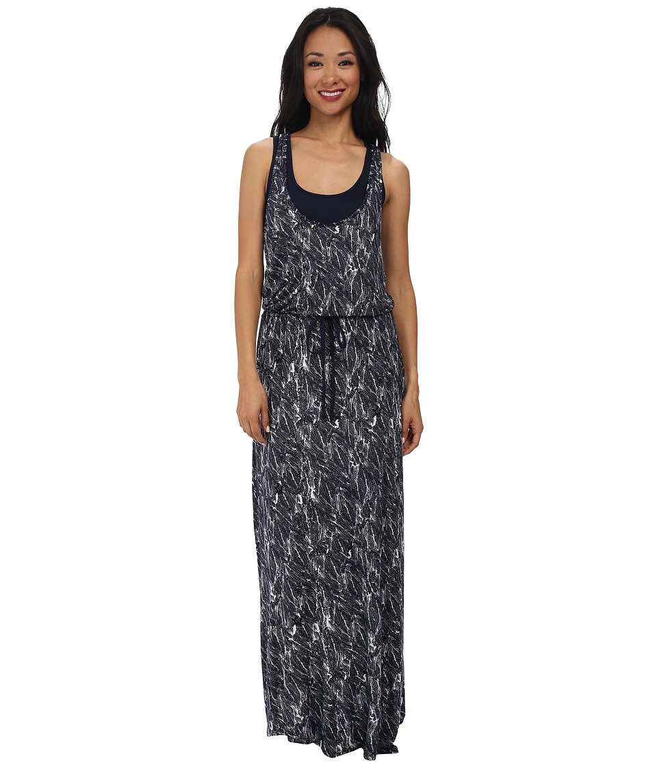 Three Dots - Drawstring Maxi Dress (Evening Blue) Women's Dress
