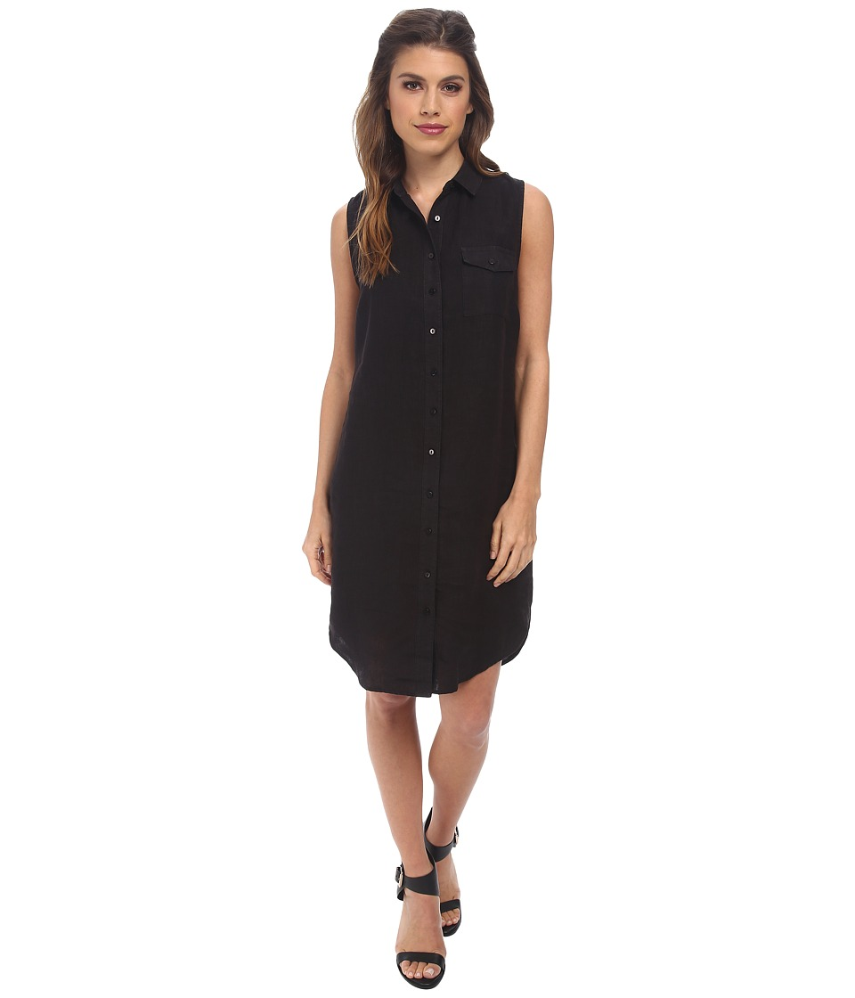Three Dots - S/L Shirtdress (Black) Women's Dress
