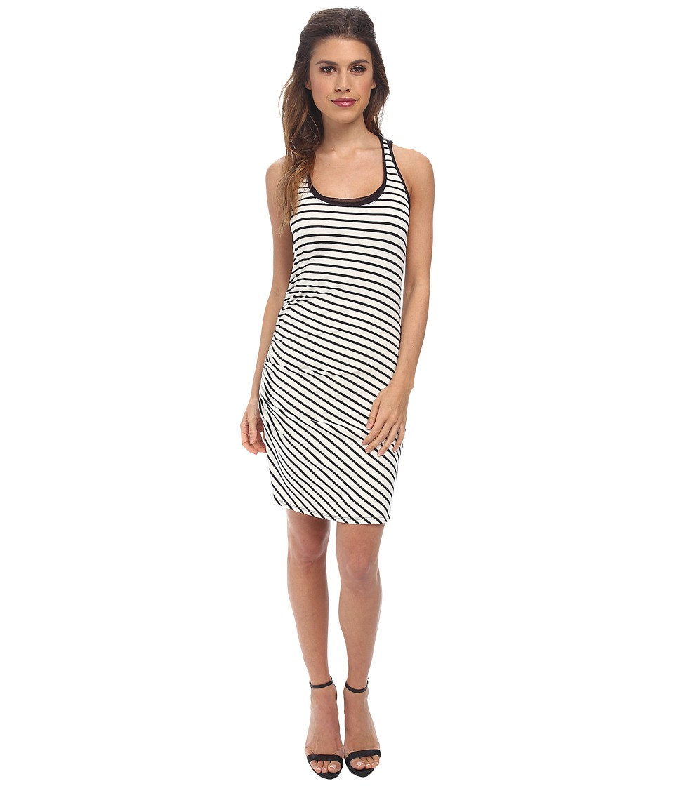 Three Dots Stripe Shirred Tank Dress (Black Combo) Women's Dress
