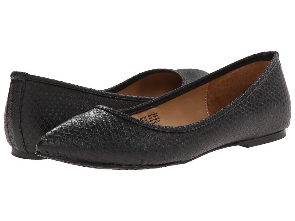 Gabriella Rocha - Pointy Flat (Black Snake Leather) Women