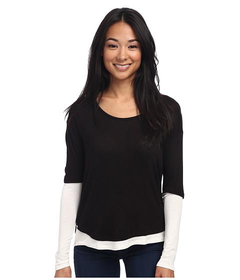 Three Dots - L/S Contrast Tunic/Top (Black/Gardenia) Women's Clothing