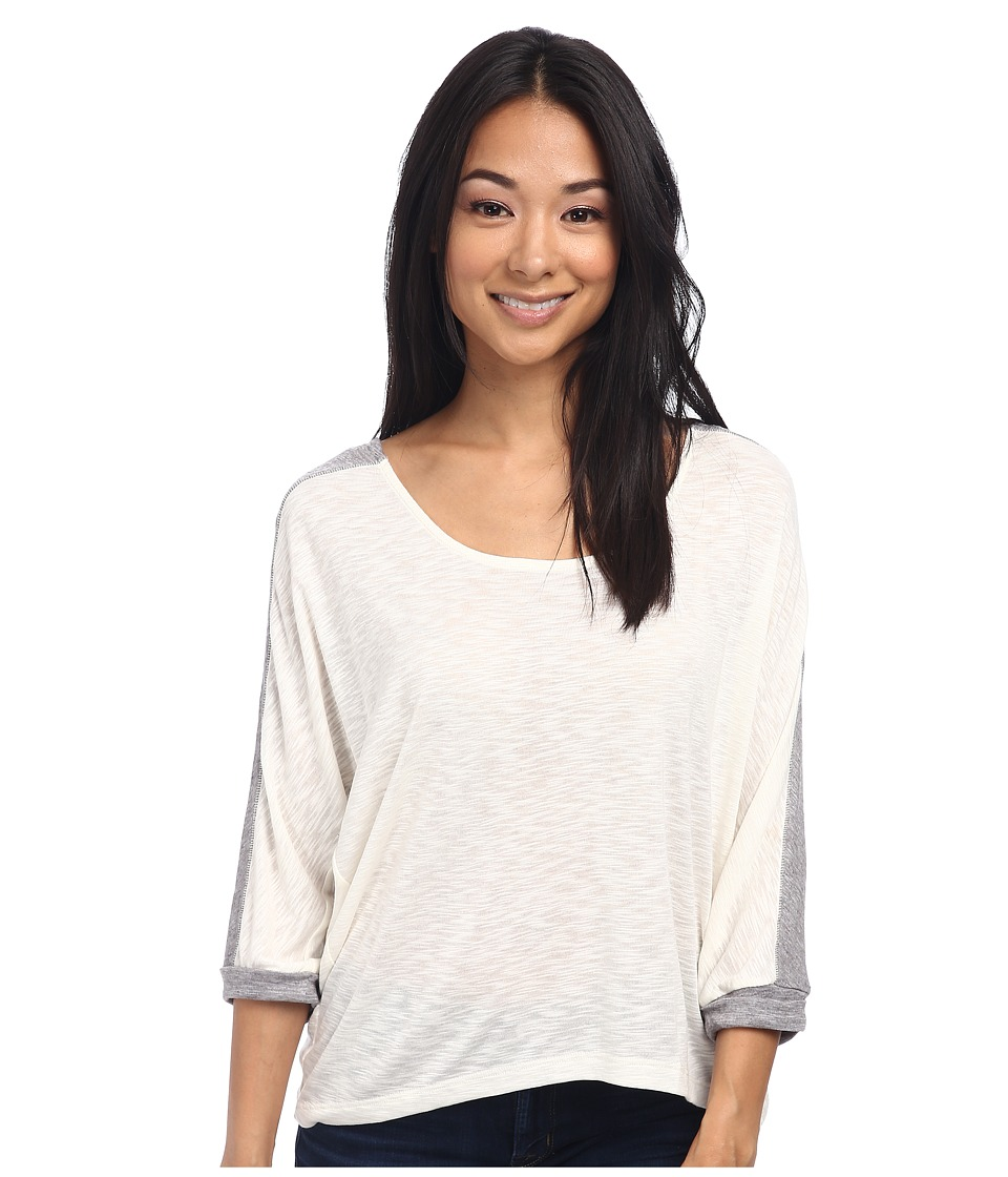 Three Dots - 3/4 Sleeve High-Low Top (White/Heathered Sky) Women's Clothing