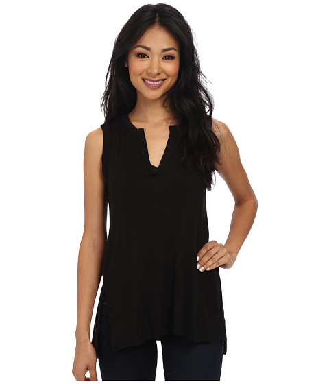 Three Dots - S/L Top w/ Side Slit Detail (Black) Women