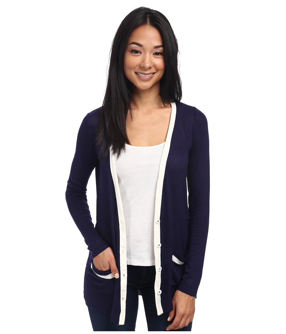 Three Dots - Boyfriend Cardigan (Evening Blue/Gardenia) Women's Sweater