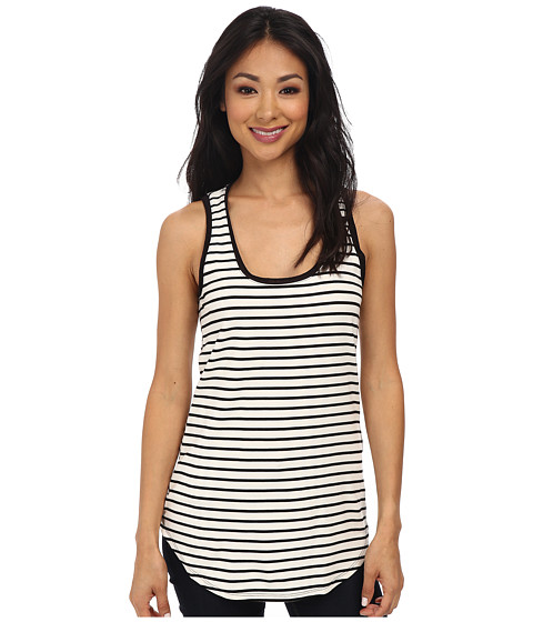 Three Dots - Ponti Stripe Long Tank (Black Combo) Women's Sleeveless