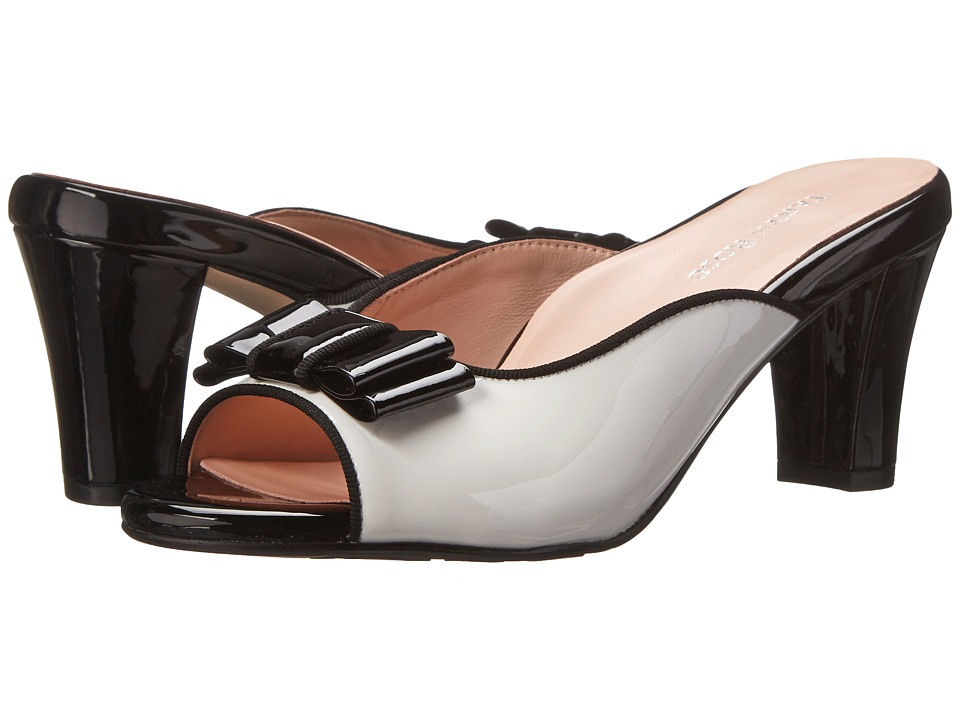 Taryn Rose Fico (White/Black Patent Leather) Women