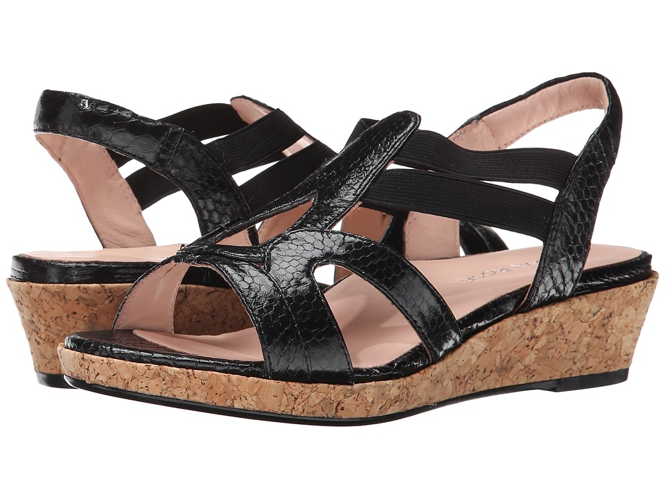 Taryn Rose Tene (Black Snake Skin Leather) Women