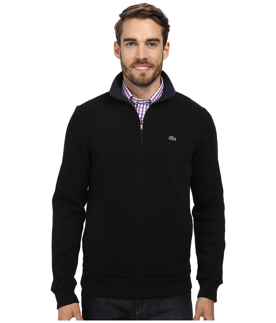 Lacoste - Half Zip Lightweight Sweatshirt (Black/Navy Blue) Men's Sweatshirt