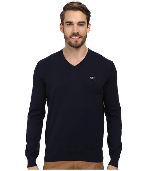 Lacoste - V-Neck Cotton Sweater (Navy Blue) Men's Sweater