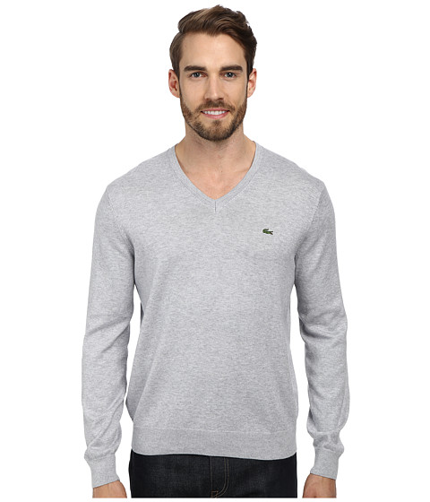 Lacoste - V-Neck Cotton Sweater (Silver Grey Chine) Men