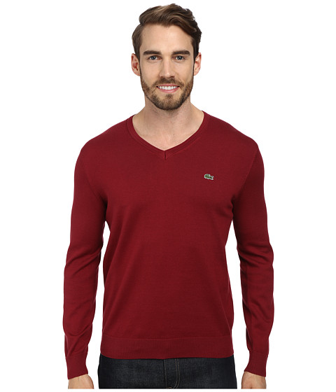 Lacoste - V-Neck Cotton Sweater (Wine Red) Men