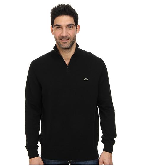 Lacoste - Quarter Zip Cotton Sweater (Black) Men's Long Sleeve Pullover