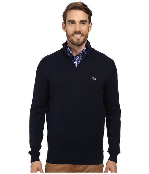 Lacoste - Quarter Zip Cotton Sweater (Navy Blue) Men's Long Sleeve Pullover