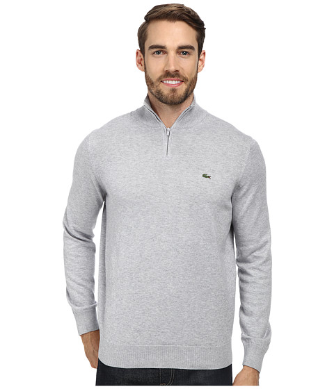 Lacoste - Quarter Zip Cotton Sweater (Silver Grey Chine) Men's Long Sleeve Pullover