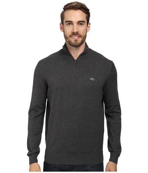 Lacoste - Quarter Zip Cotton Sweater (Granite Grey) Men's Long Sleeve Pullover